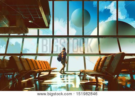 young girl walking in airport looking planets through window, illustration painting