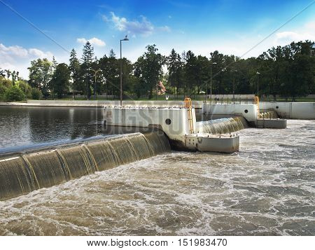 View of hydro facilities on the river Odra, Poland