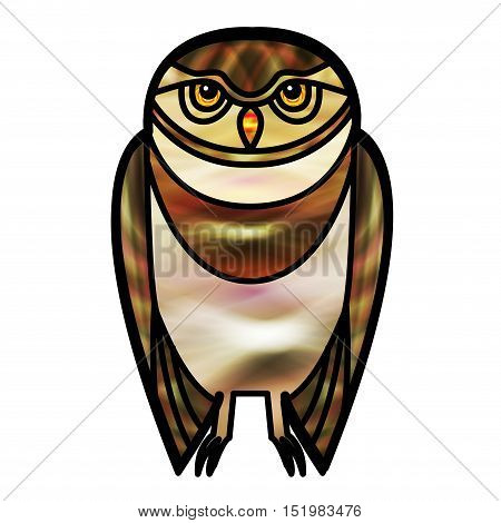 Brown burrowing owl drawn in simple tribal style with a stained glass effect.