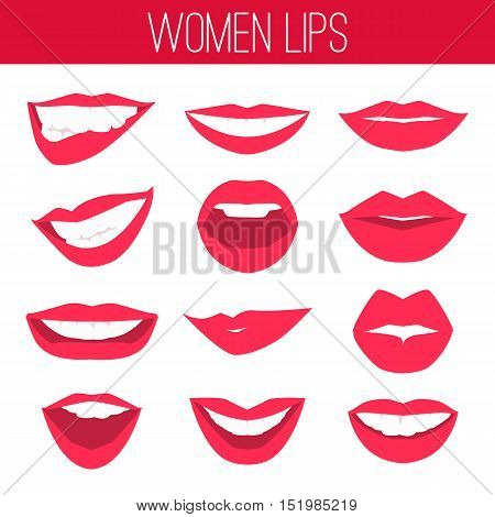 Female lips with red lipstick flat icons isolated on white background. Gestures lips desire, temptation, seduction, trembling, temptation, passion, hot. Vector illustration.