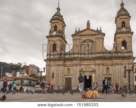 Bogota Colombia - April 30 2016: Pigeons and tourists on Bolivar Square in Bogota