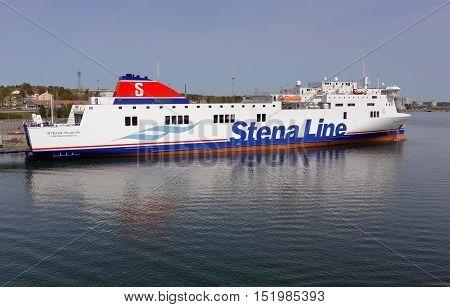 Nynashamn, Sweden - May 12, 2016: RoPax vessel Stena Flavia (IMO 9417919) in Nynashamn harbor in service for Stena Line.