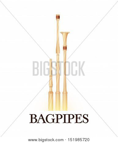 Vector Illustration of Bagpipes in light colors. Illustration for musical community