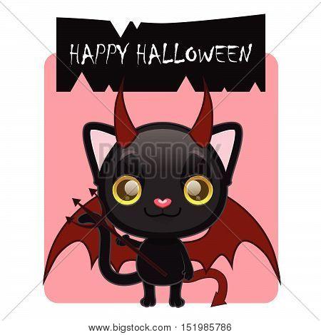 Cute black cat posing as a devil for Halloween