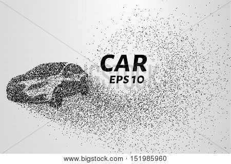 The car disintegrates to smaller molecules. Cars consists of small circles and dots. Vector illustration