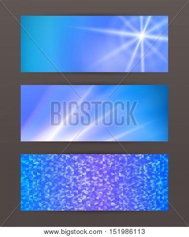 Set Horizontal Banner Headline Abstract Glow Lines20