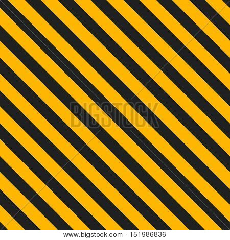 Seamless striped construction safety background. Road warning yellow black pattern. Vector illustration.