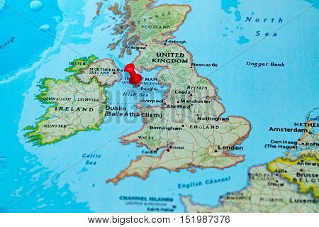 Douglas, Isle Of Man Pinned On A Map Of Europe