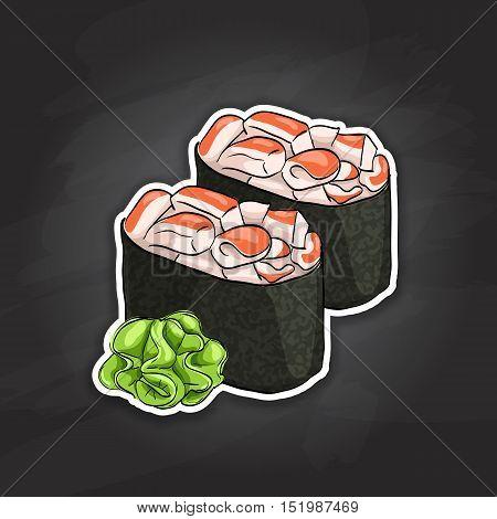 Vector sushi color sticker, Gunkan Spicy Ebi