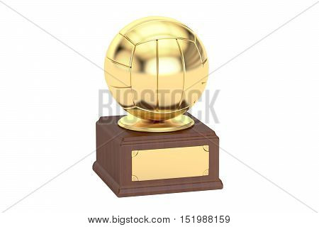 Gold award cup volleyball 3D rendering isolated on white background