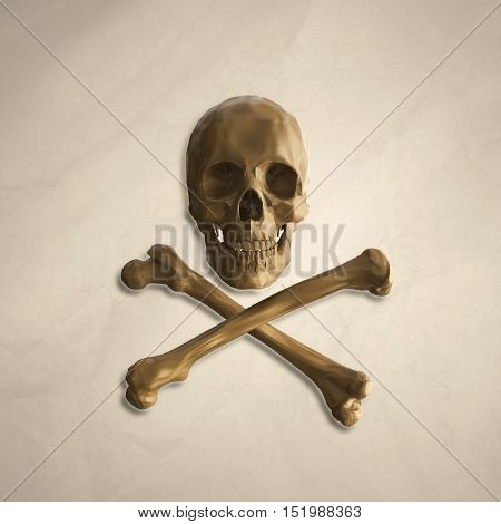 yellow human skull and crossbones on the background of old crumpled paper with the addition of shadows. 3d illustration