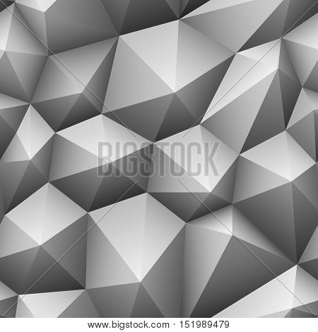 Gray triangle seamless low-poly background. Abstract triangle gray texture. Low poly pattern vector illustration.