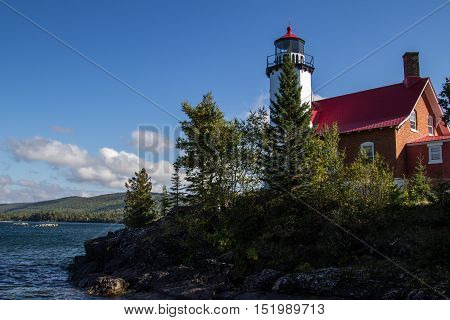 Eagle Harbor Lighthouse. The Eagle Harbor Lighthouse on the shores of Lake Superior in Michigan's Keweenaw Peninsula.