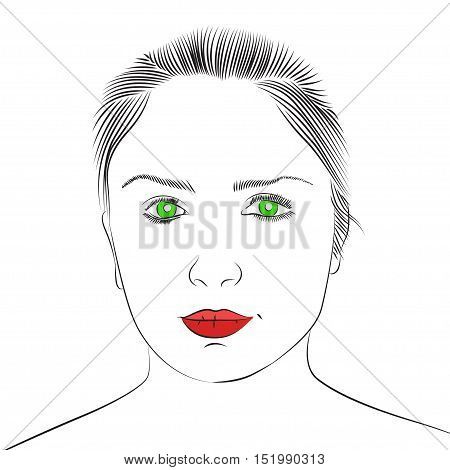 Face of beautiful young girl with green eyes and red lips. Vector sketch. Hand drawn illustration.