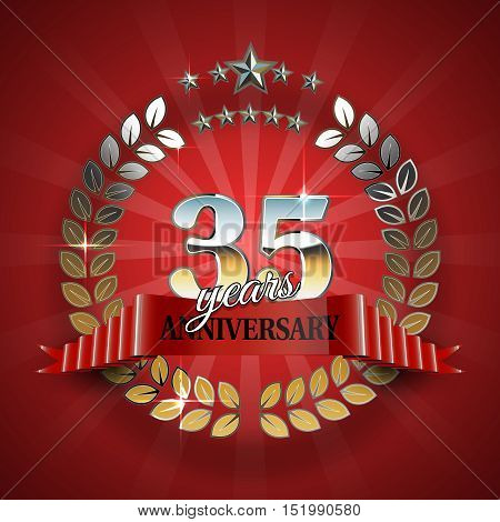 35th anniversary frame in the golden form of laurel branches. Frame for 35th anniversary. Anniversary ring with red ribbon. Anniversary festive celebration emblem. Vector illustration