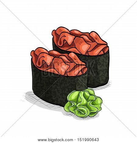Vector sushi color sketch, Gunkan Spicy Sake. Vector illustration, EPS 10
