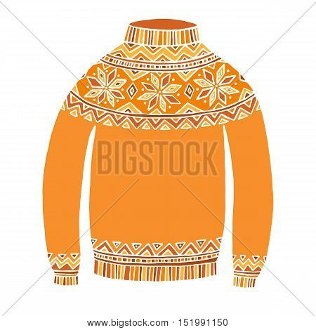 Christmass cute vector sweater isolated on white background