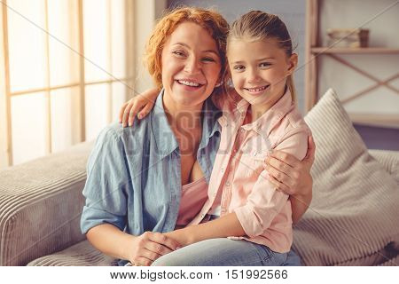 Grandma And Little Girl At Home