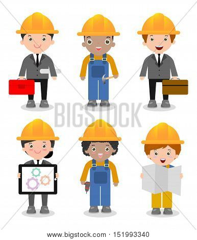 Set of cute construction Engineering Industrial Workers Project Manager isolated on white background, Engineer man and woman,Civil engineer, architect and construction workers, Vector Illustration