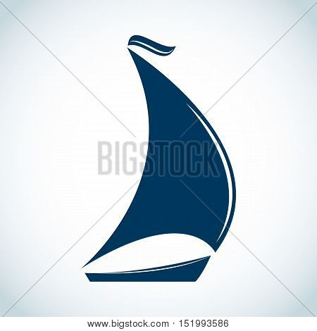Sailing boat icon in flat design. Vector illustration