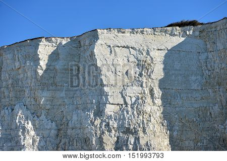 Sheer chalk cliffs on the Sussex coast