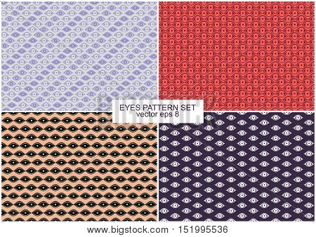 Set Of Four Illustrations of Eyes Pattern Backgrounds