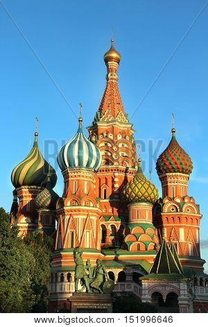 Beautiful view of the red square in the evening Moscow Russia
