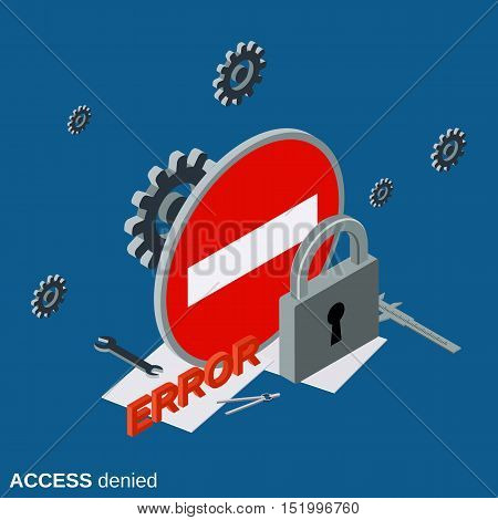 Access denied flat isometric vector concept illustration
