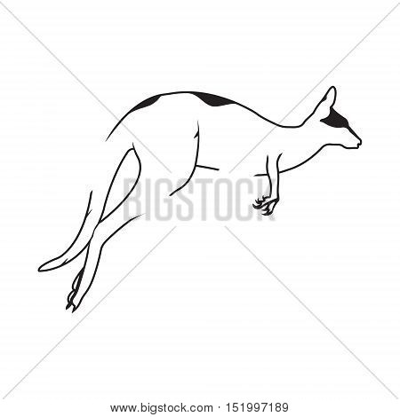 Kangaroo logo. Silhouette vector symbol of kangaroo for design company's logo, tattoo, visit card, etc. Monochrome sign of animal.