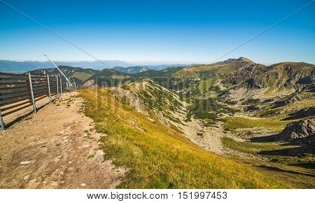 Way Up to Top of Chopok Mount in Low Tatras National Park Slovakia. High Tatras in Background.