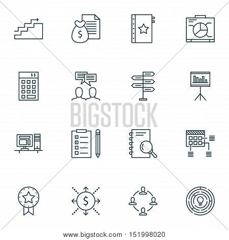 Set Of Project Management Icons On Money, Board, Present Badge And Other Topics. Editable Vector Ill