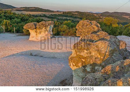 Sunrise view of rock formation The Stone Mushrooms, Kardzhali Region, Bulgaria