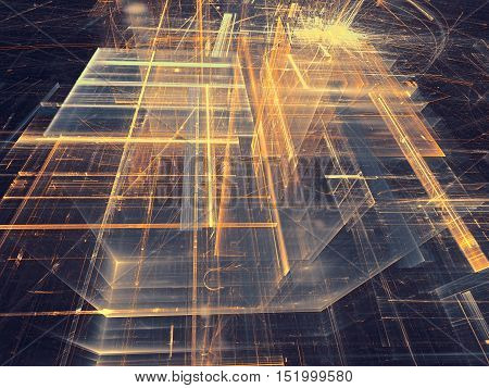 Abstract dark tech background. Fractal art: glass walls on surreal building. Glowing lines and grid. Industry or technology concept. Computer-generated image