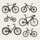 Vector set of bicycle icons in flat style. Guide of bike types. Poster with six bicycles silhouettes (racing/ road bike touring bike mountain bike bmx hybrid and city bike). poster