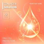 Vector illustration of Collagen Serum and Vitamin Background Concept Skin Care Cosmetic. poster