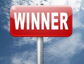 winner of medal and quiz results price and award or contest winners road sign 3D illustration poster