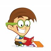 Clipart picture of a nerd geek cartoon character reading book poster
