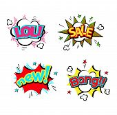 Pop art comic speech bubble boom effects vector. Bubble boom speech and pop explosion bang bubble boom. Communication cloud fun humor book splash element abstract funny balloon. poster