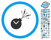 Time Fireworks Charge pictograph with bonus calendar and time management clip art. Glyph illustration style is flat iconic bicolor symbols blue and gray colors white background. poster
