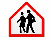 A new shape of a traffic sign shows crossing street danger for school children. poster
