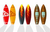Set of vector surf boards with Hawaiian patterns and flames poster