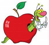 Happy Green Worm In Apple Cartoon Character poster