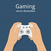 Wireless white joystick hold in hand gamer. Gaming concept. Vector illustration flat design. Online games. Entertainment hobby relaxation. poster