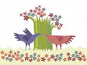 Pair of birds and a blossoming tree. Vector illustration poster
