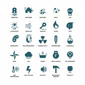 External influence protection vector icons. Mechanical damage and ultraviolet, fragility and vibration illustration poster