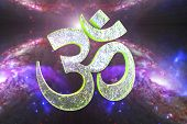 Hindu word reading Om or Aum symbol on space background, 3D illustration. It is a spiritual icon and a sacred sound in Indian religions, a mantra in Hinduism, Buddhism and Jainism poster