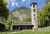 Santa Coloma church of pre-Romanesque structure at Andorra. The cultural landscape of Madriu-Perafita-Claror Valley is UNESCO World Heritage Site poster