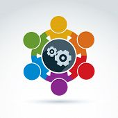 Vector colorful illustration of gears, enterprise system theme international business strategy concept. Cog-wheels moving parts and people components of manufacturing process. poster