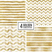 Set of seamless pattern of gold glitter stripes, zigzag chevron, wavy stripe, seamless texture golden lines, wave, zig zag stripe, hand drawn vector pattern for paper, card, invitation, wedding, web poster
