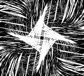 Random intersecting lines geometric monochrome art. Random chaotic curvy lines. poster